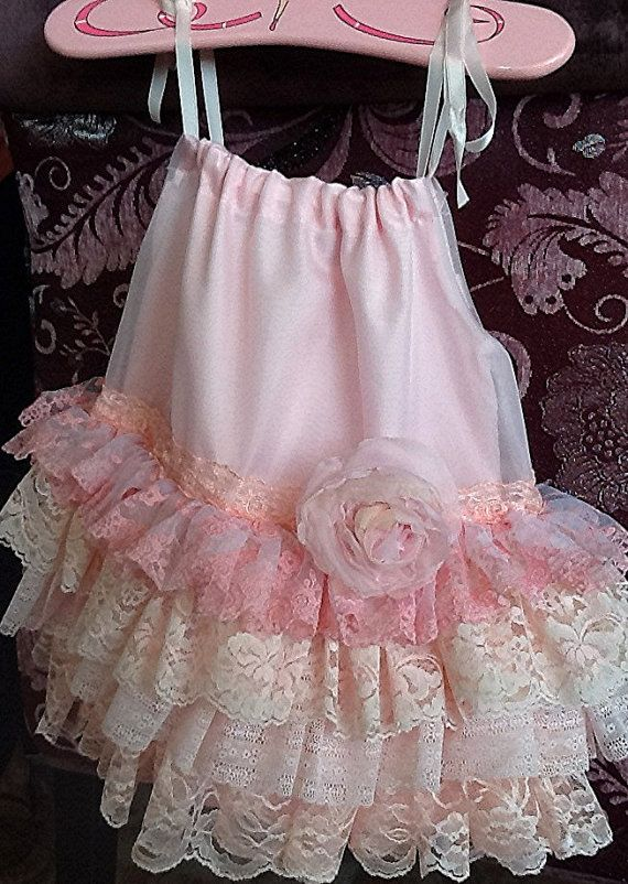 Flower Girl,Easter Spring dress  Pink Peach Vintage Lace  Ruffled Dress  The Isabella  by Rosanna hope for Babybonbons wedding