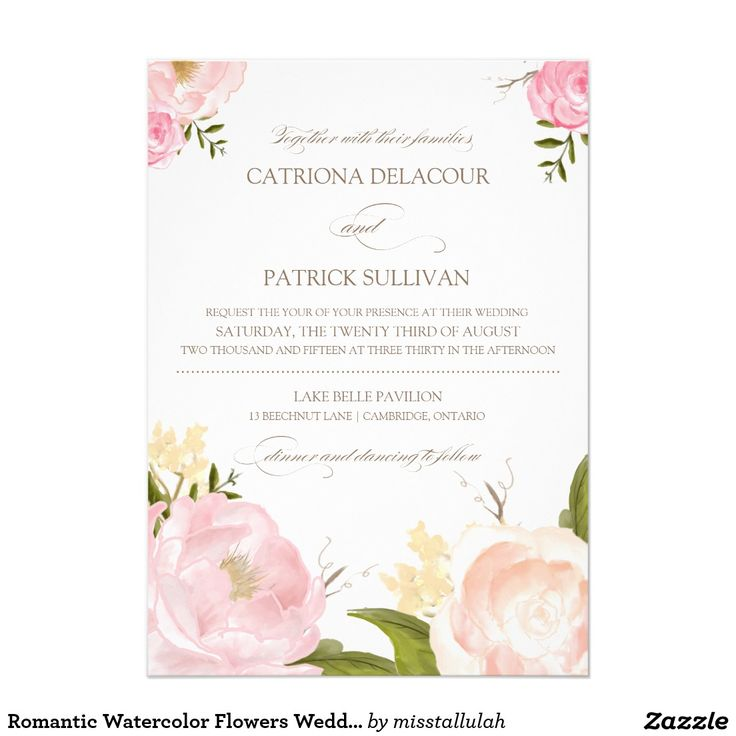 Romantic Watercolor Flowers Wedding Invitation Whimsical wedding invitation featuring lovely watercolor illustrations of peonies and rose. This is a part of a wedding suite. Matching items are available.