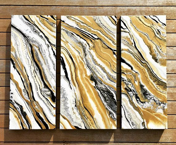 Triptych Fluid Acrylic Painting On Canvas Superstar Acrylic
