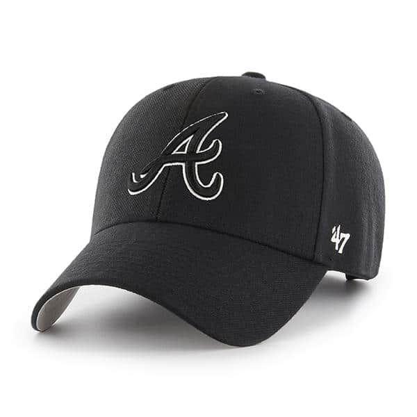 Atlanta Braves 47 Brand Black White Logo Mvp Adjustable Hat Atlanta Braves Atlanta Braves Hat Hats For Men