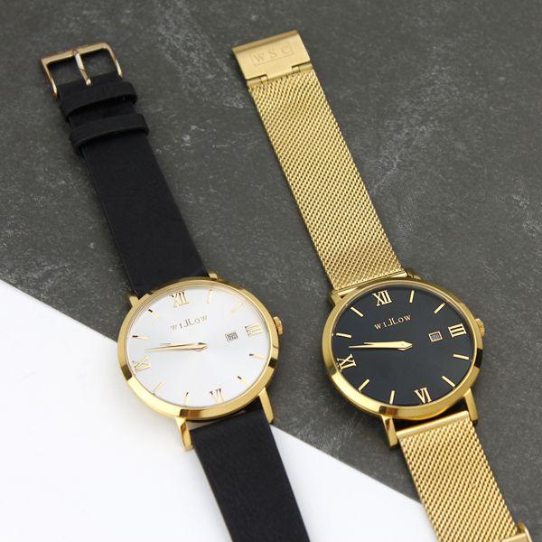 Napoli Vegan Black & Milano Gold Mesh Watches...