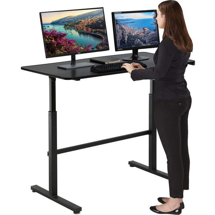 Standing Desk Converter Height Adjustable Desk Computer Workstation Large Desktop Stand Up Desk E In 2020 Adjustable Height Desk Standing Desk Converter Sit Stand Desk