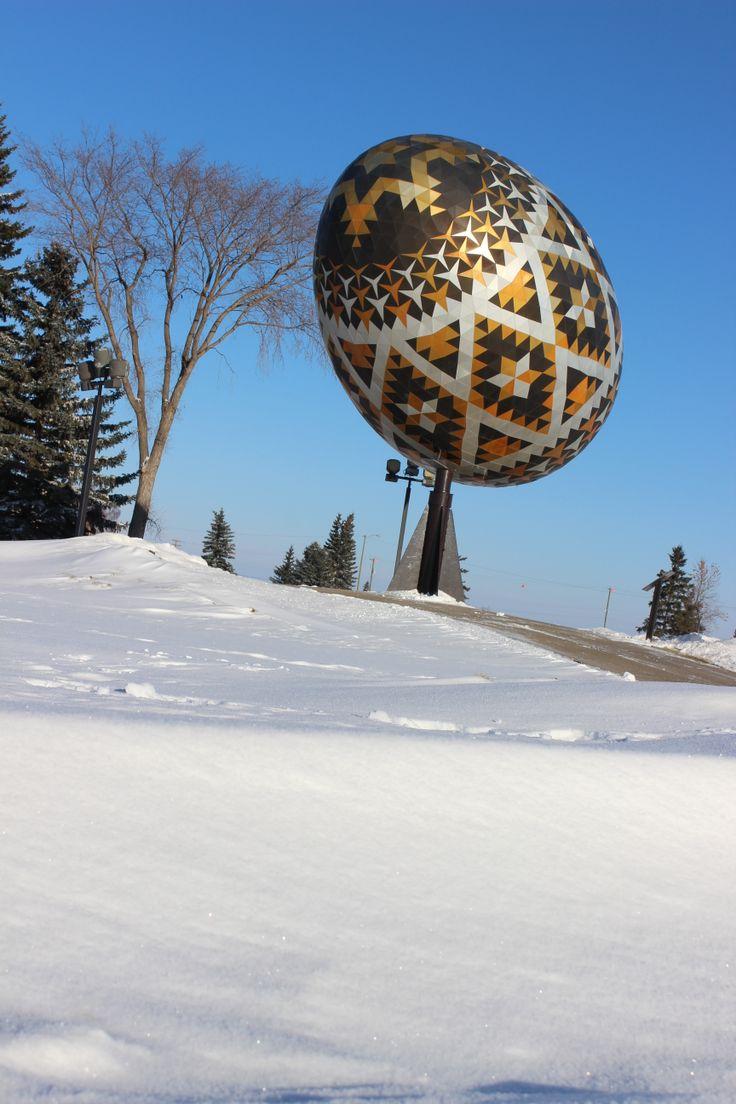 Vegreville Pysanka Egg in the winter
