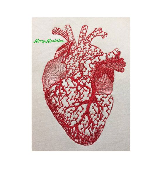 Menschliches Herz Maschine Stickerei Design  von MaryMeridius