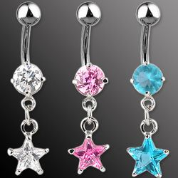 CZ Star Dangle Belly Ring