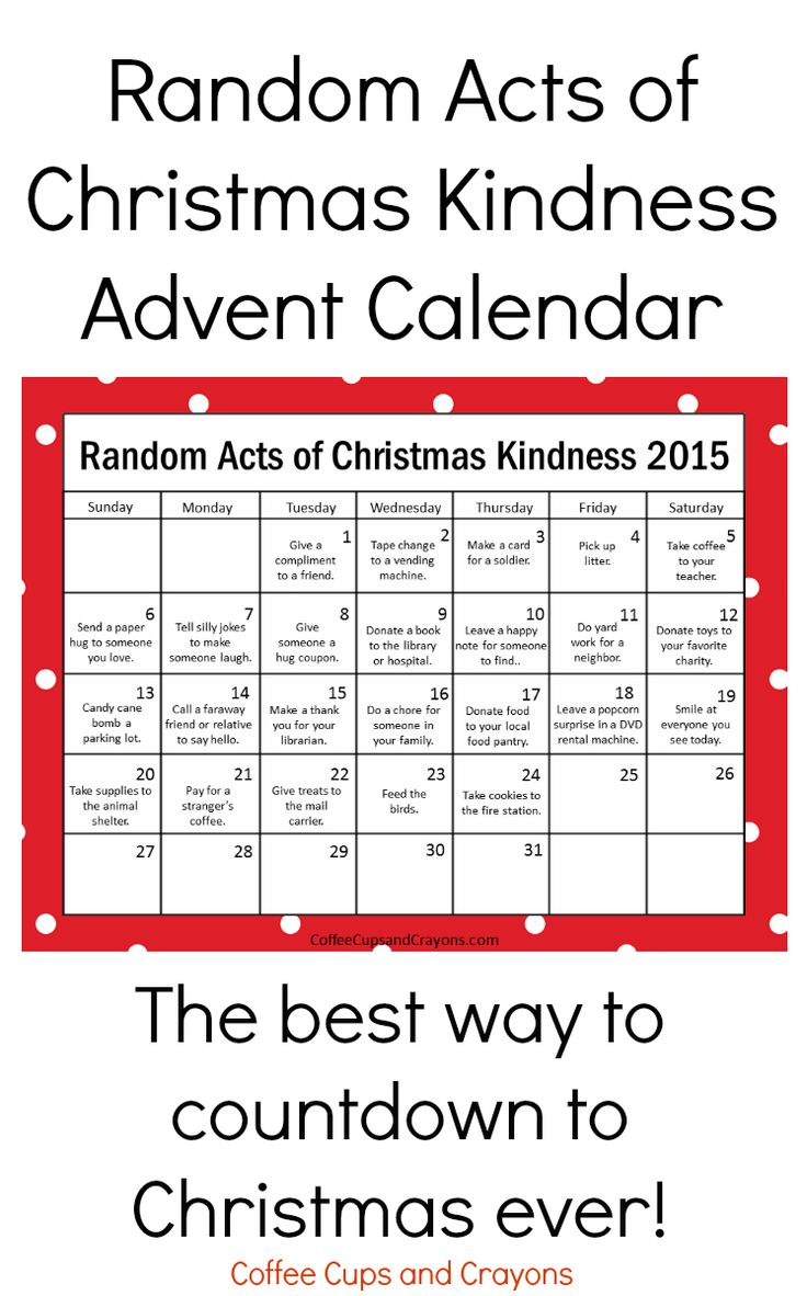 Random Acts of Christmas Kindness Printable Advent Calendar - Coffee Cups and Crayons
