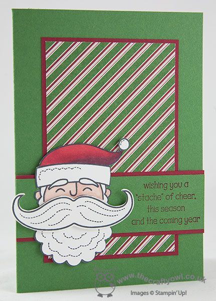 Santa Stache of Cheer Card, Santa Stache, Mustache Framelit, Trim The Tree DSP Paper Stack, Joanne James Stampin' Up! UK Independent Demonstrator, blog.thecraftyowl.co.uk