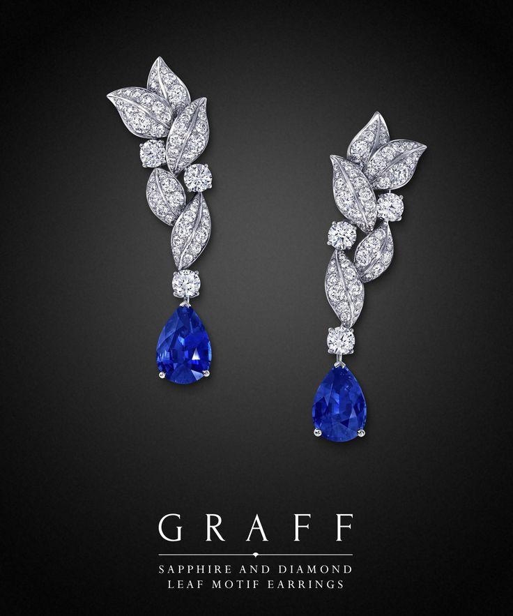 Graff Diamonds: Sapphire and Diamond Leaf Motif Earrings