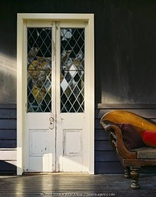 pretty stained glass vintage wooden french doors