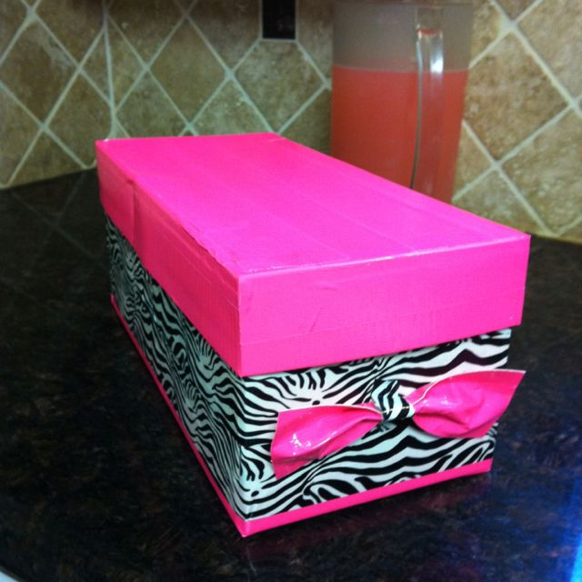 Made An Ordinary Shoebox Into A Storage Box In Style Using Duct Tape.