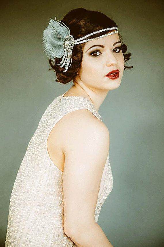 Flapper Headpiece in Silver, Gray, Pearl, Feather.