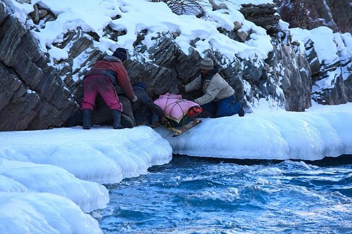 A frozen lake in Zanskar ladakh India. Trekkers dream
