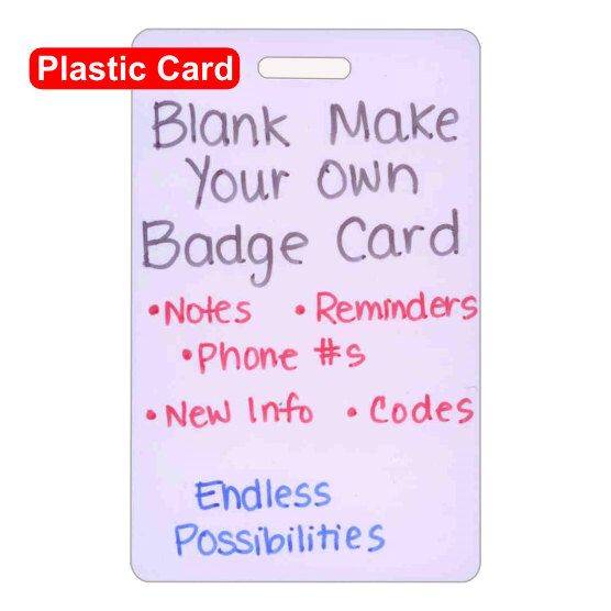 Blank Plastic Make Your Own Badge Card Vertical for Nurse Paramedic EMT for ID Badge Clip Strap or Reel by scrubsandstuff on Etsy https://www.etsy.com/listing/130115415/blank-plastic-make-your-own-badge-card
