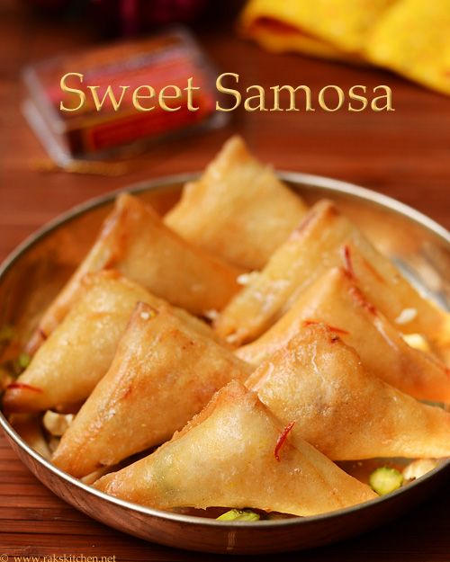 sweet samosa with khoya, nuts with spring roll pastry sheets. Quick fix for Holi festival
