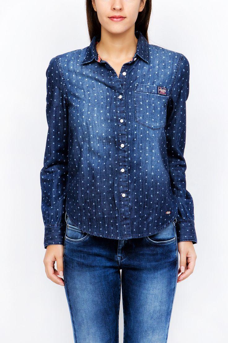 Superdry Πουκαμισο Denim Printed Shirt  ➛ http://goo.gl/BAeQET