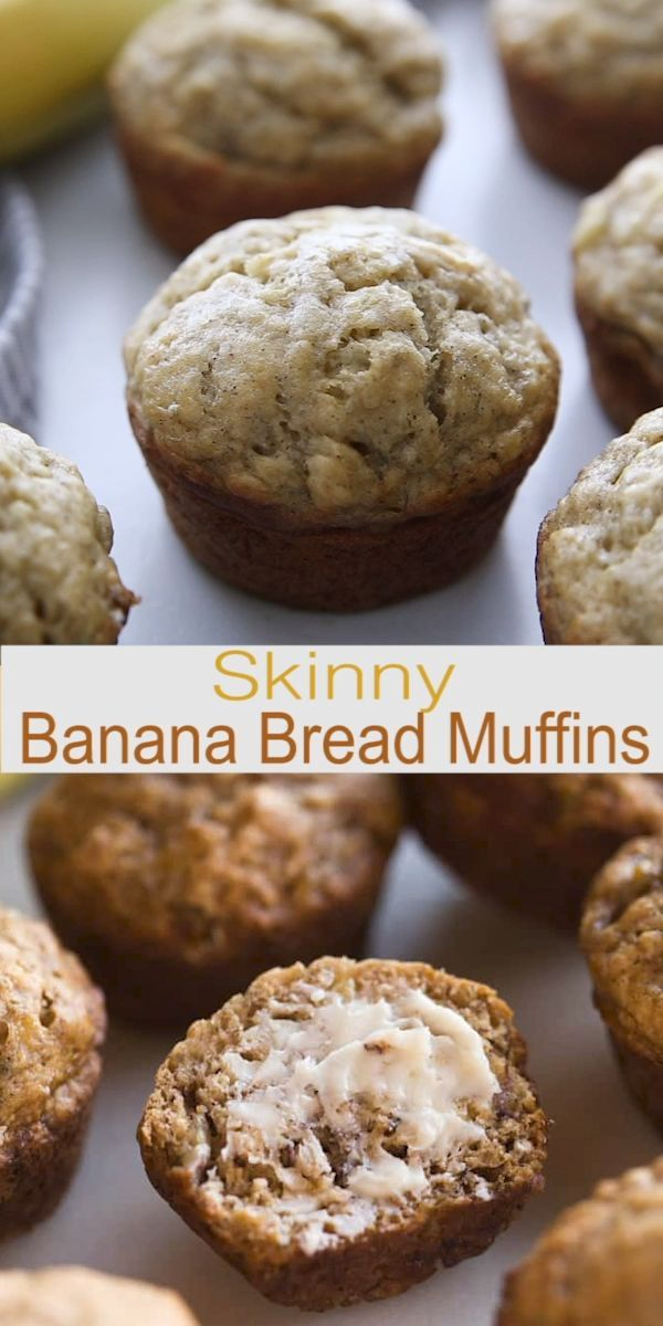 SKINNY BANANA BREAD MUFFINS that are so flavorful and moist you would never know they are healthy (er).  These banana muffins have no oil, are low sugar, and just over 100 calories each.