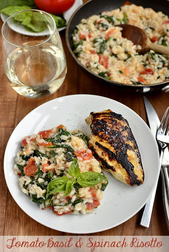 Tomato Basil and Spinach Risotto is fresh and light. Perfect any time of year! | iowagirleats.com
