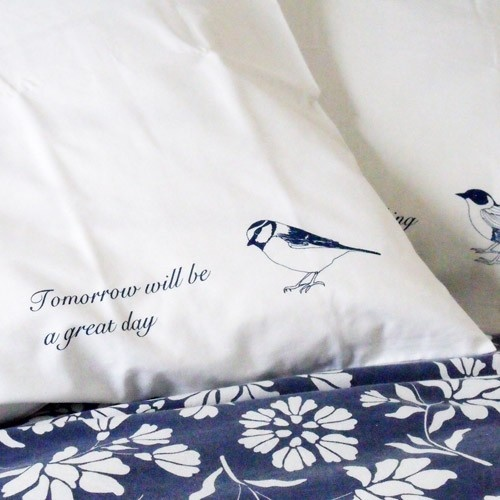 a nice thought to fall asleep with !  Can embroider with positive sayings & scripture. Love the little bird idea.