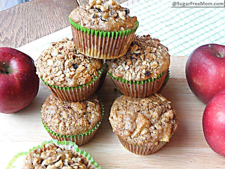 Stevia Sweetened Apple Oatmeal Muffins: 112 calories!
