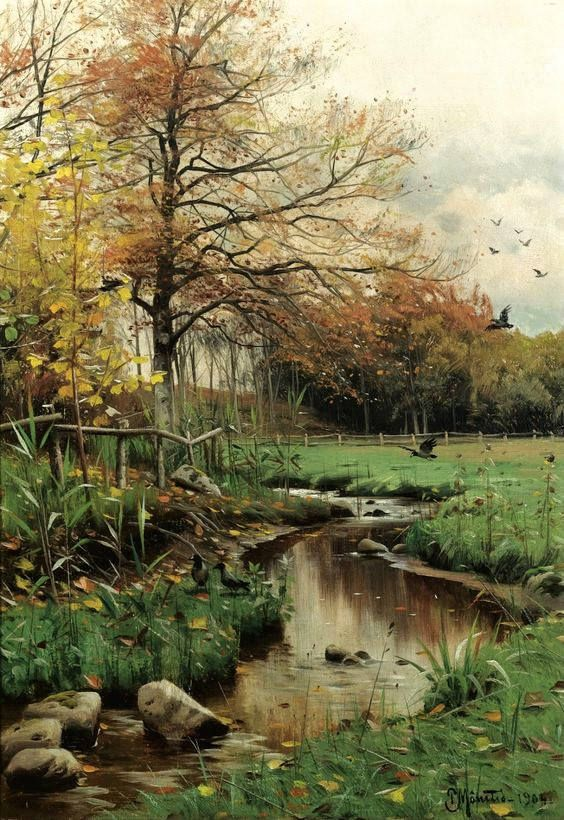 Autumn Leaves by Peder Mork Monsted. Cross stitch. Cross stitch pattern. Counted cross stitch. Embroidery pattern. Cross stitch supply