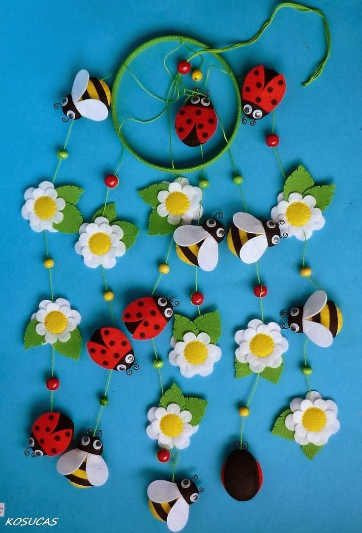 Natural diy bead felt flower and insects mobile home for Diy felt flower mobile