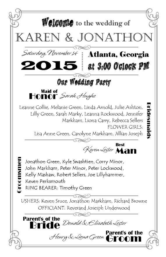 Wedding Program DIY Double Sided Printable Instant By Mazoria 999