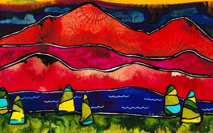 """""""Visit to the Seaside""""  Visit my Etsy shop: www.sweetpeafineart.etsy.com View my artist website: www.sweetpeafineart.com"""