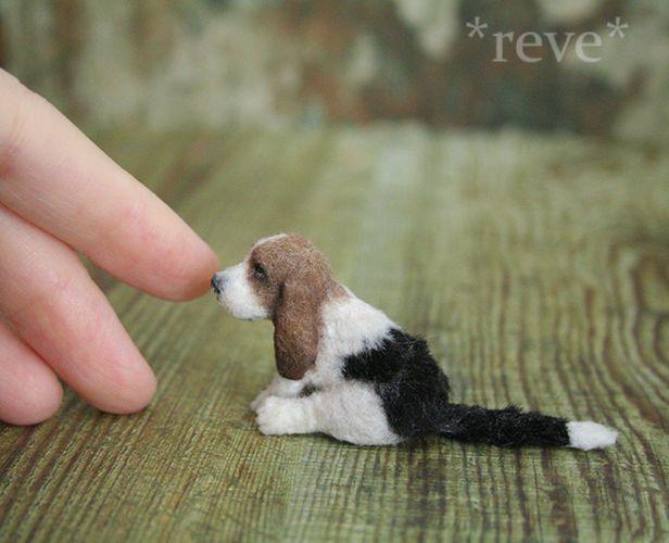 OOAK Realistic Miniature ~ Basset Hound dog ~ Handmade 1:12 Sculptures *Reve #Handmade
