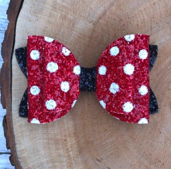 "Minnie Mouse Glitter Hair Bow 3.5/"" Red /& Black  Disney Bow Clip"