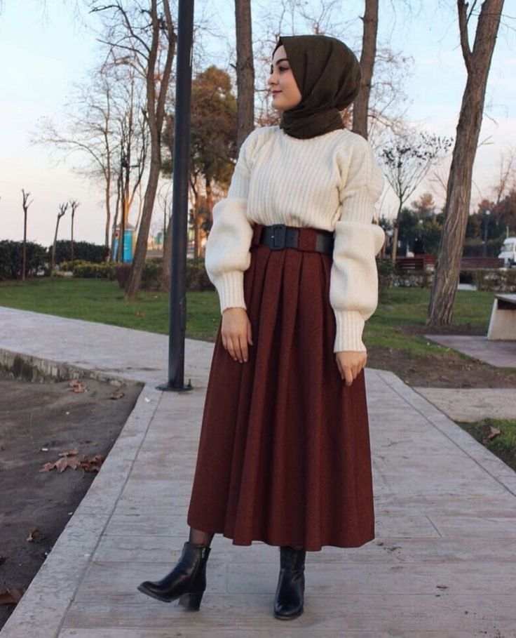 Winter hijabi outfit, maroon midi skirt, white swe…