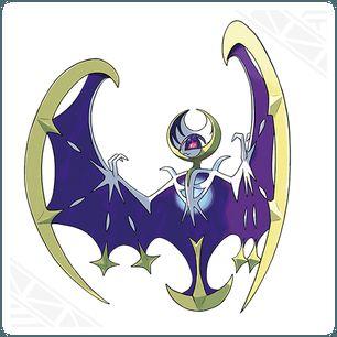 Lunala, Corona Lunar Pokémon legendarios   de tipo Psíquico/Fantasma.  movimiento característico es Rayo Umbrío,habilidad Guardia Espectro PS al máximo.