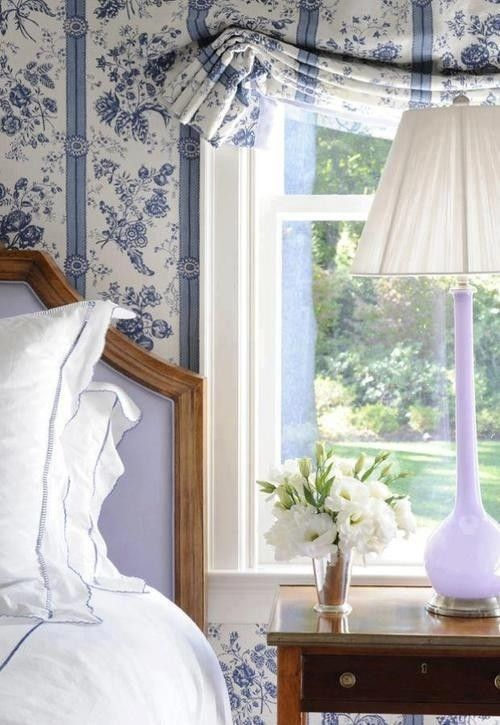"""Laura Ashley Lavender Lamp Shade -  curtains (though I would want something of pattern/color that contrasted and """"popped"""" a bit more)"""