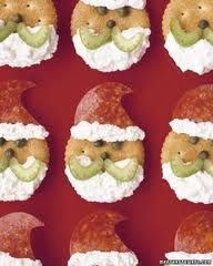 Cute little savoury Father Christmas's made from crackers, Metwurst or fritz cut into a hat shape, celery slices for a moustache, mix creamed cheese with mayonnaise and pipe on for the beard.  What are you going to make the eyes and nose out of?  Yummy.