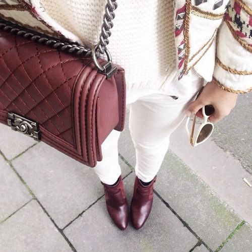 White, Embelished and Stiched Jacket, Burgundy Booties and Chanel Le Boy purse