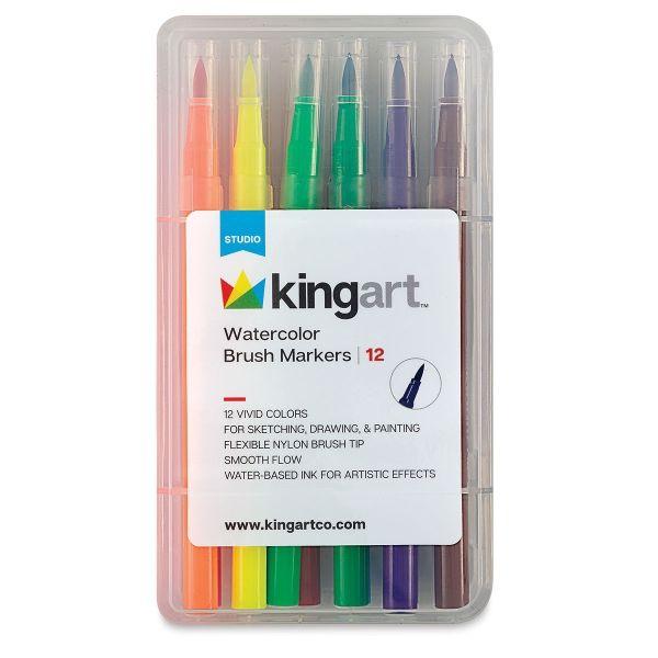 Kingart Watercolor Brush Marker Set 12 Pkg Markers Set Brush