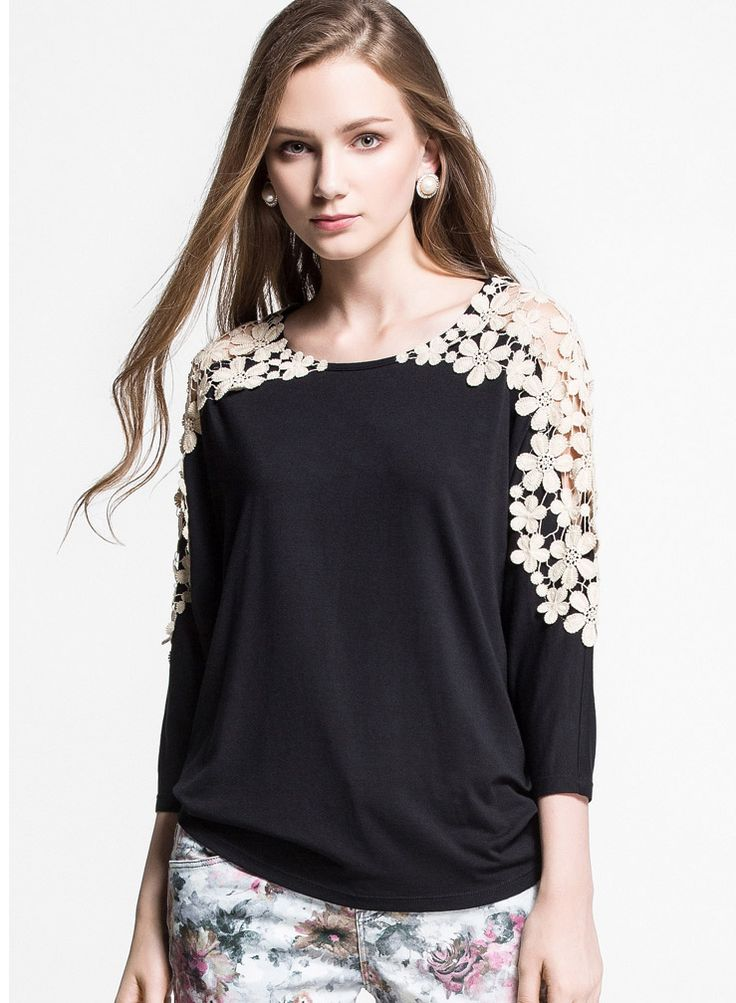 Camiseta Casual encaje hueco manga larga-negro 15.72