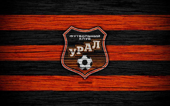 Download wallpapers FC Ural, 4k, wooden texture, Russian Premier League, soccer, football club, Russia, Ural, logo, art, football, Ural FC