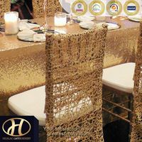GOLD CHEMICAL EMBROIDERY CHAIR FULL BACK COVER FOR WEDDING
