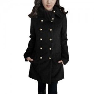 Jackets  Women Notched Lapel Double Breasted Slim Fit Casual Worsted Coat Get Rabate