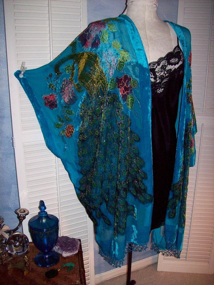 Silk Velvet Burnout Kimono Beaded Peacock Fringe Plus
