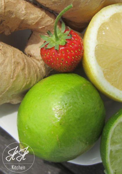 Zutaten für Inger Zitronen/Limetten Creme mit Erdbeeren