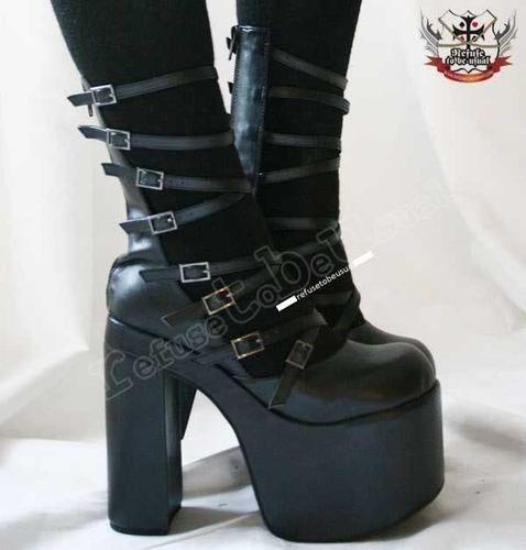 Cyber Gothic Lolita 8 Strap Buckle Boot