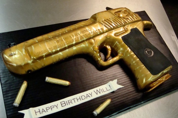 Golden gun cake
