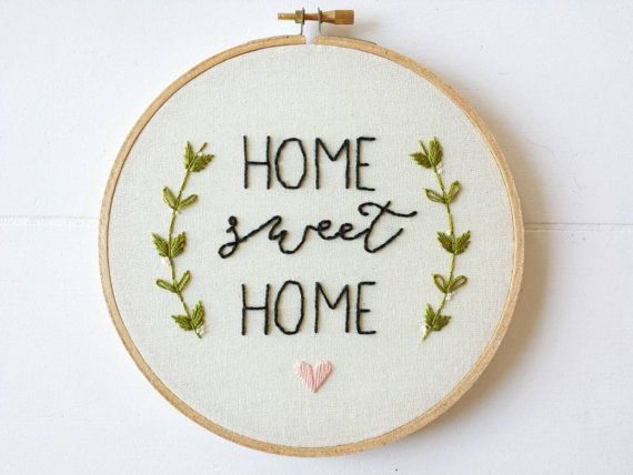 Home Sweet Home Sign, Embroidery Hoop Art, Stitched Art, Home Decor, Housewarming Gift, Hand Embroidery