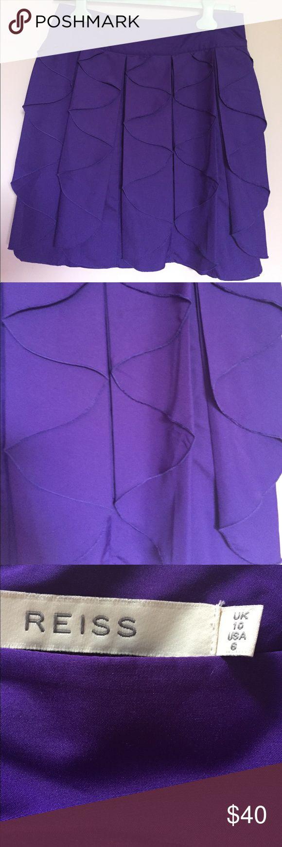 Reiss skirt Beautiful Reiss Vegas skirt in deep purple.  This skirt has a super interesting fold detail that's really unusual. Reiss Skirts