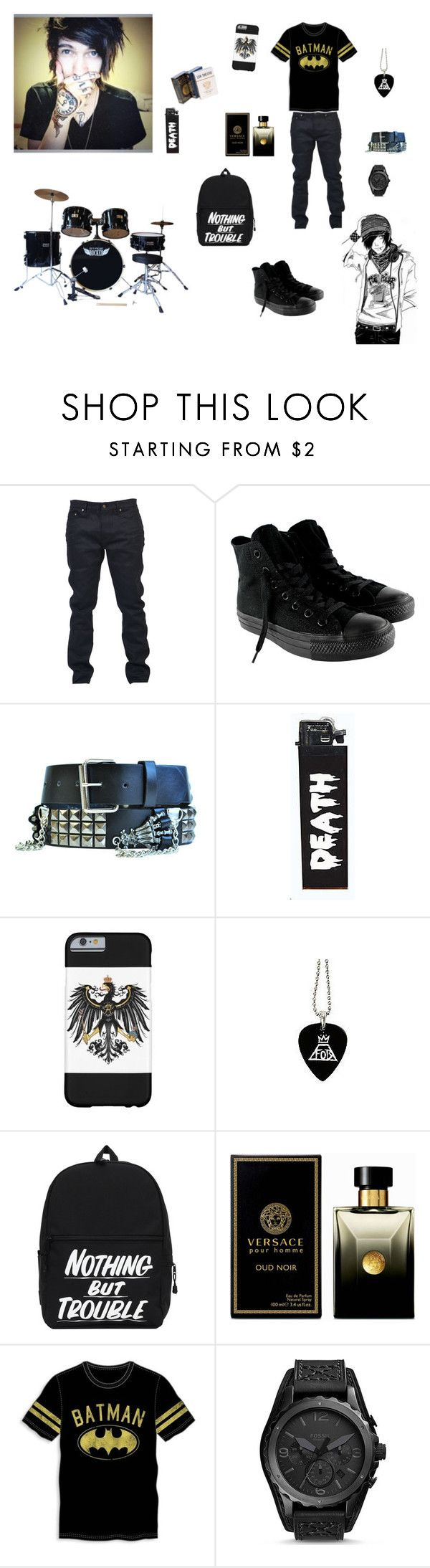 """""""I got to drum today ~Luke"""" by bandssavedmehhh ❤ liked on Polyvore featuring interior, interiors, interior design, thuis, home decor, interior decorating, Yves Saint Laurent, Converse, Versace en Bioworld"""