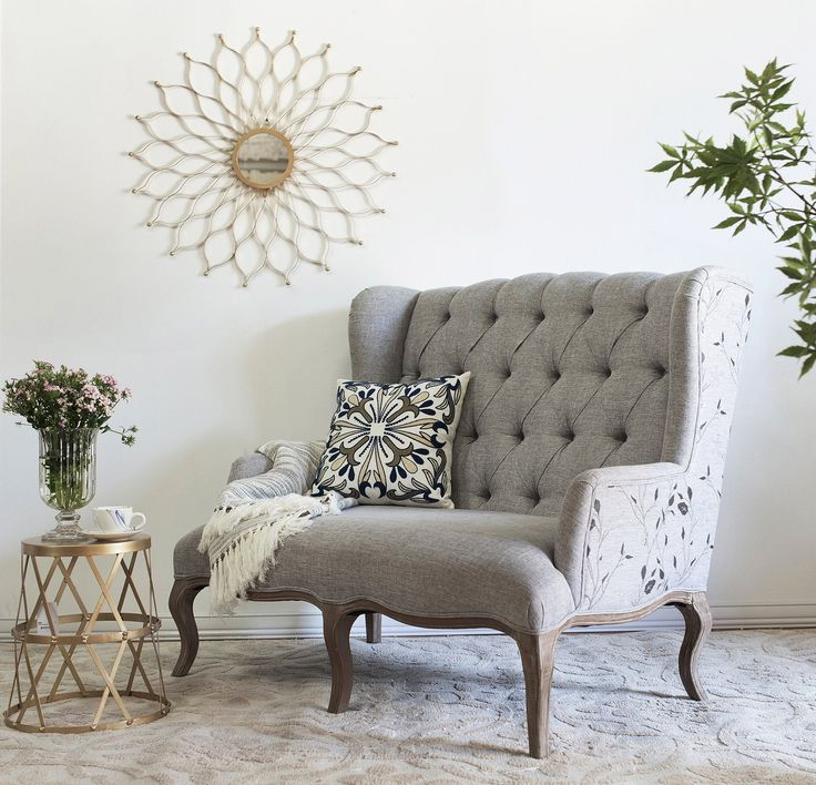 Floral Wing Arm Love Seat