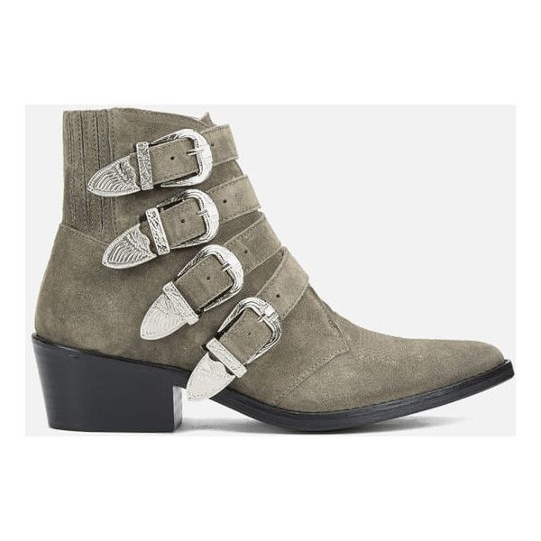 Toga Pulla Women's Buckle Side Suede Heeled Ankle Boots (£340) ❤ liked on Polyvore featuring shoes, boots, ankle booties, beige, mid heel boots, mid-heel boots, beige ankle boots, suede bootie and pointed toe booties