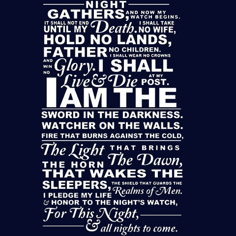 Nights Watch Oath Game Of Thrones Shirt S2XL by idiotprints, $14.99