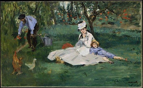 Édouard Manet, LA FAMIGLIA DI MONET NEL LORO GIARDINO AD ARGENTEUIL, 1874, 61 cm x 100 cm, Colore ad olio, Metropolitan Museum of art